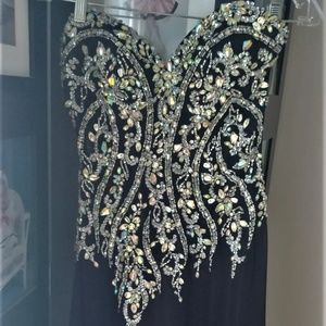 Black Embellished Evening/Prom Dress